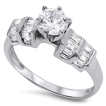 Sterling Silver Round 6 Prong 1 Carat Cubic Zirconia with Double Row Baguettes Ring