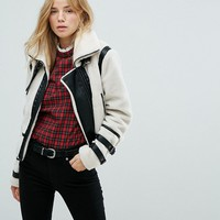 New Look Contrast Shearling Jacket at asos.com