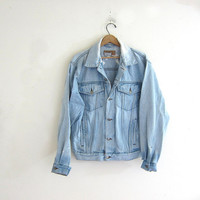 Vintage 80s Wrangler jean coat / Destroyed denim jean jacket. Bleached denim button up coat