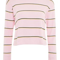 Striped Long Sleeve Crew Neck Top - T-Shirts - Clothing