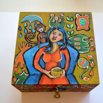 Original Hand Painted Trinket Box Lady with by RenaissanceDays