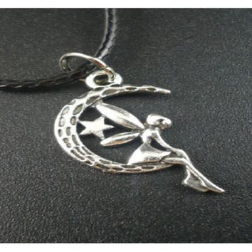 "Handmade Vintage ""Angel on Moon"" Alloy Leather Pendant Necklace For Women"