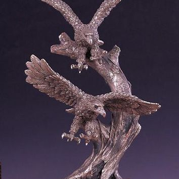 Two Pewter Eagles Bronze Figurine- 13.5""
