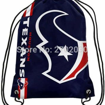 Houston Texans Drawstring Bags Men Sports Backpack Digital Printing Pouch Customize Bags 35*45cm Sports National Fottball Team