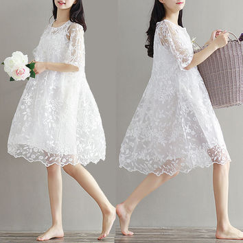 Maternity clothes spring twinset lace maternity one-piece dress white embroidery princess women pregnancy dress summer vestidos