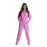 Pink Cotton Hooded Adult Onesuit