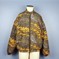 M Vintage Silk Bomber Jacket Animal Print Leopard Tiger Jaguar Spots Short Coat Light Jacket Lightweight Vintage Clothing All Over Print