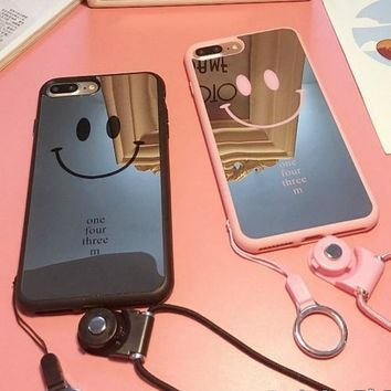 Smile Face LOGO Mirror Surface Lover Phone Case Soft Silicone Back Cover for Iphone6 6plus 7 7plus(Not Include Phone Lanyard)