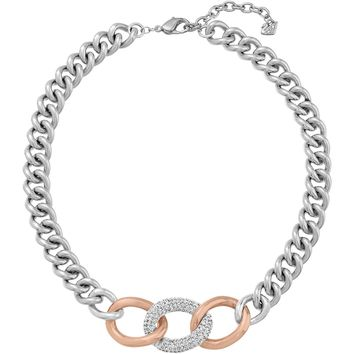 Swarovski Clear Crystal BOUND Necklace Chain Links Rose Gold Palladium #5080040