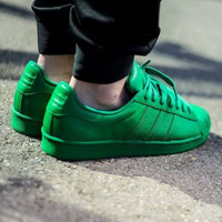 """""""Adidas"""" Shell-toe Sneakers Sport Shoes Pure Color Flats Green"""