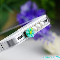 Blue and orange flower pearl  Dust Plug 3.5mm Smart Phone Dust Stopper Earphone Cap Headphone Jack Charm for iPhone 4 4S 5 HTC Samsung