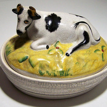 English Cow Butter Dish Container, Staffordshire Style, Signed Keystone, Made in England 118