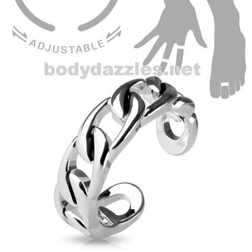 Linked Chain Silver Adjustable Double Braided Toe Ring