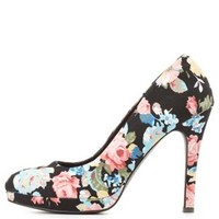 Qupid Floral Print Mini Platform Pumps