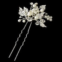 USABride Fresh Water Pearl Ivory Bridal Hair Pin, Floral & Leaf Design 227