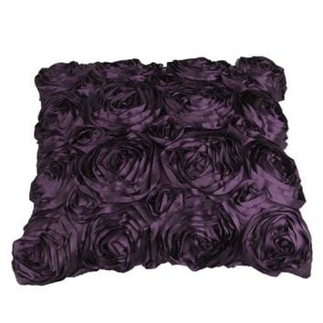 T-Best  In Aliexpress promotion Purple Satin Rose Flower Pillow Cushion PillowCase Cover