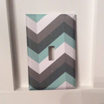Gray Chevron Light Switch Cover, Chevron Switchplate, Gray Chevron Nursery