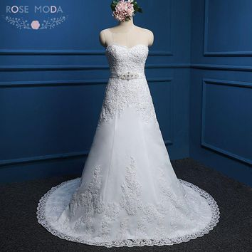 Rose Mode Beaded Lace Wedding Dresses with Crystal Belt Sweetheart Wedding Dress Plus Size Vestidos de Noiva
