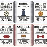 "Set of Six Doctor Who Inspired ""LITTLE SHOP"" SIGNS Cross Stitch Charts"