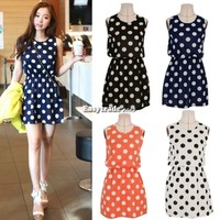Sexy Women Polka Dot Dress Mini Above Knee Chiffon Skirt Dress Sleeveless Tops