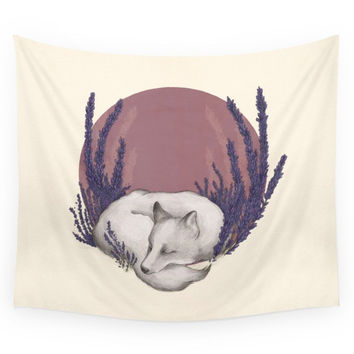 Society6 Fox & Lavender Wall Tapestry