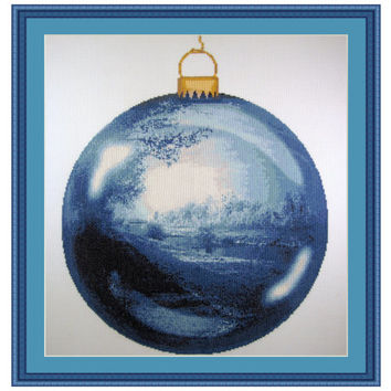 Christmas Dreams, Cross Stitch Kit Christmas ball ornament, Landscape