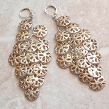 Sand Dollar Earrings Large Sequins Coins Disks Chandelier Gold Tone Lever Back Wires V0745