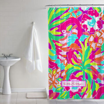 "New Lilly Pulitzer Lulu Cute Flamingo Print Custom Shower Curtain Size 60"" x 72"""