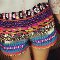 Embroidered Sequins Zipper Casual Shorts