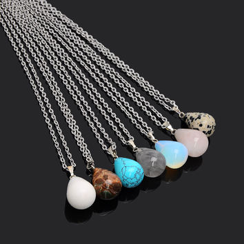 Josbores Trendy Water Drop Stone Charm Necklaces & Pendant Natural Opal Stone Pendants Necklace for Women Fashion Jewelry