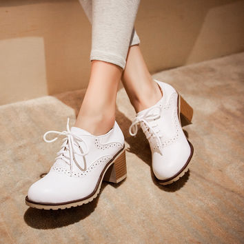 Women High Heels Shoes Lace Up Thick Heeled Platform Pumps 2442