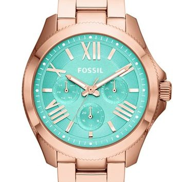 Women's Fossil 'Cecile' Multifunction Bracelet Watch, 40mm - Rose Gold/ Mint