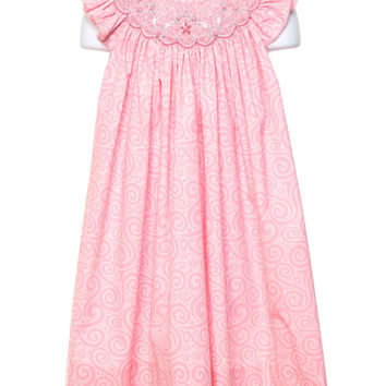 Petit Ami Peachy Pink Smocked Angel Wing Dress with Matching Panty