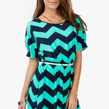 A'GACI Boatneck Zig Zag Dress W/ Belt - DRESSES