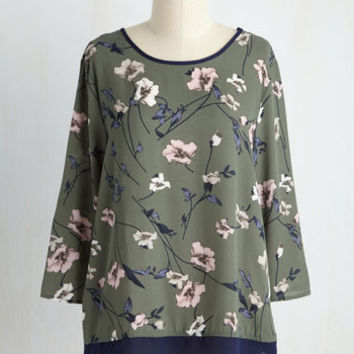 What a Pleasant Surplice Floral Top | Mod Retro Vintage Short Sleeve Shirts | ModCloth.com