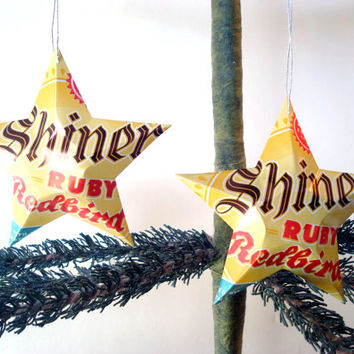 Shiner Ruby Redbird Beer Can Ornaments - Set of 2 Recycled Beer Can Star Christmas Ornaments