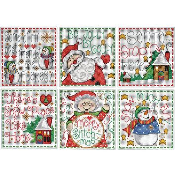 "Merry Stitchmas Ornaments Counted Cross Stitch Kit 3.5""X3.5"" 14 Count Set Of 6"