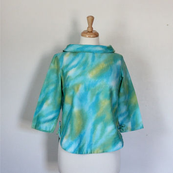 Vintage 60s Blouse / Cropped Top / Turquoise Watercolor / Retro Mad Men / Carol Brent
