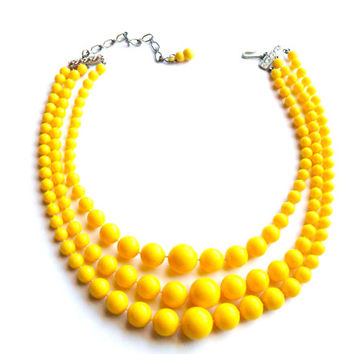 Vintage Yellow Bib Necklace Multi Three Strand Sunny Summer Lemon Plastic Acrylic Silver Tone