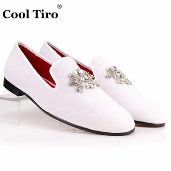COOL TIRO Velvet Dress Shoes Men Loafers Rhinestones Crystal Tassel Slippers White Vel