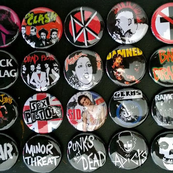 20 VARIOUS punk buttons misfits sham69 dead kennedys the clash badges pinback avengers accessories bad brains