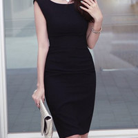Black Sleeveless Bodycon Midi Dress