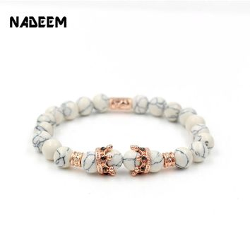 Drop Shipping Fashion Micro Pave Crystal Crown Charm Natural White Howlite Stone Bead Elastic Bracelet For Girl Pulseras Hombre
