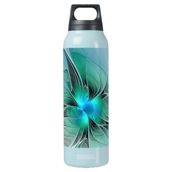 Abstract With Blue, Modern Fractal Art Insulated Water Bottle
