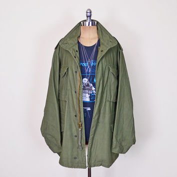 Vintage 70s Army Green US Army Jacket Coat Military Jacket M-65 M65 Field Jacket Hood Vietnam 90s Jacket 90s Grunge Jacket Men Women M L Xl