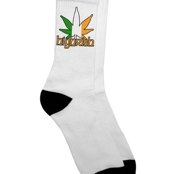 Highrish - Marijuana Leaf Adult Crew Socks - by TooLoud