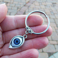 Boho Keychain with all seeing eye evil eye blue eye illuminati charm and charm holder