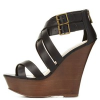 Black Strappy Crisscross Wooden Platform Wedges by Charlotte Russe