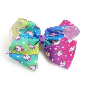 2017 Newest Big bowknot hairpins girl barrettes large colorful cute unicorn bow hair clip jojo Hair Accessories 8 Inch