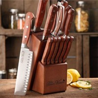 The Pioneer Woman Cowboy Rustic Forged 14-Piece Cutlery Set, Red Rosewood Handles - Walmart.com